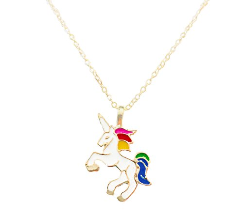Gold Unicorn Charm - Altitude Boutique Unicorn Pendant Necklace, Colorful Rainbow Unicorn Necklace (Gold)