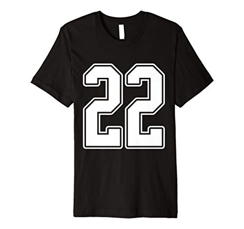 #22 White Outline Number 22 Sports Fan Jersey Style T-Shirt -