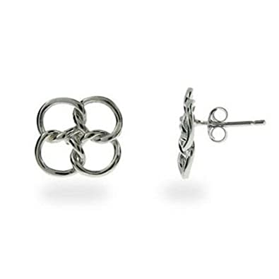 680bd7f72 Four Linked Circles (Quadrifoglio) Stud Earrings - 925 Sterling Silver  Plated - Designer Inspired: Amazon.co.uk: Jewellery