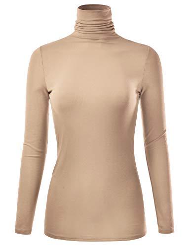 EIMIN Women's Long Sleeve Turtleneck Lightweight Pullover Slim Shirt Top Taupe 2XL