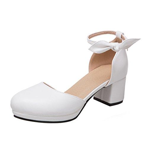 b4b400909d88 YE Damen Ankle Strap Pumps Blockabsatz High Heels Plateau mit Riemchen und  Schleife Elegant Schuhe Weiß