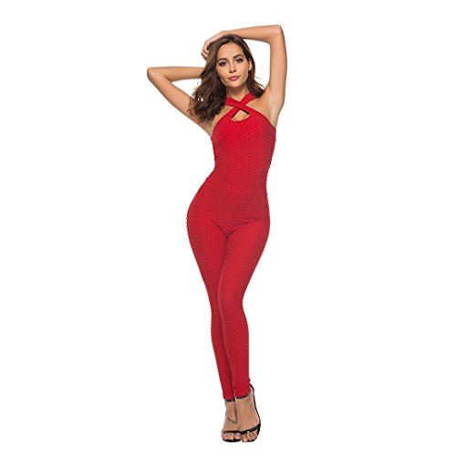 Price comparison product image SCSAlgin blouse Women's One-Piece Sport Yoga Jumpsuit Running Fitness Workout Gym Tight Pants (Red,  S)