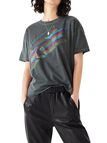 Epuyaito Women Rainbow Color Bright Star Printed Short Sleeve Crew Neck T-Shirt Tops