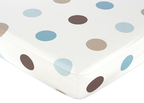 Mod Dots Blue and Brown Fitted Crib Sheet for Baby and Toddl
