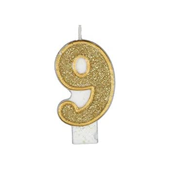 Gold Party Supplies 3 9 Numeral #9 Gold Glitter Candle Unique Events Birthday Celebration