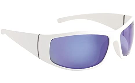 Fisherman Eyewear Bluefin Matte White-Frame Gray Lens (Blue Mirror)  Polarized Lens