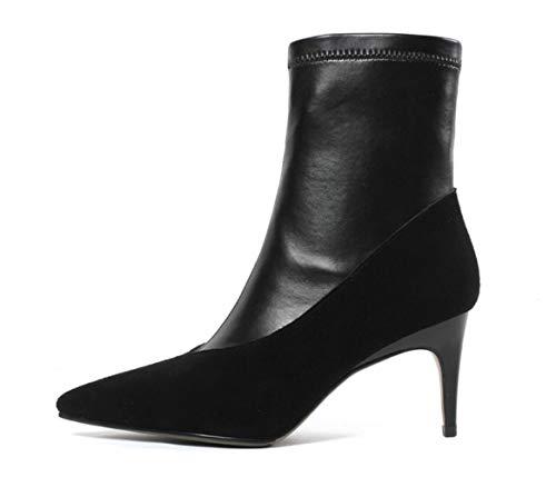 Black High Leather Stitching Stiletto Pointed 2018 Female Boots New Side Short Women's Heels Zipper Shiney Heel xvwzZFOF