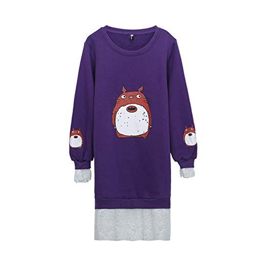 Donna Medio Pile Pullover Caldo Felpe Da Lunghezza Purple q1OSCxU
