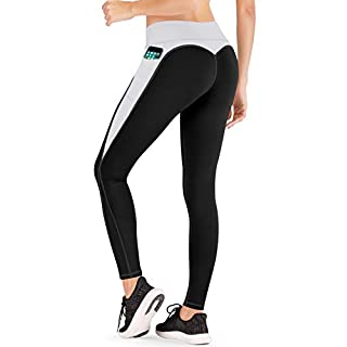 IUGA High Waist Yoga Pants with Pockets, Tummy Control, Workout Pants for Women 4 Way Stretch Yoga Leggings with Pockets (Black/Gray IU7860, Medium)