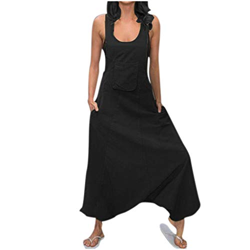 hositor Jumpsuit for Women, Ladies Solid U Neck Sleeveless Pocket Casual Cotton and Linen Suspender Jumpsuits -
