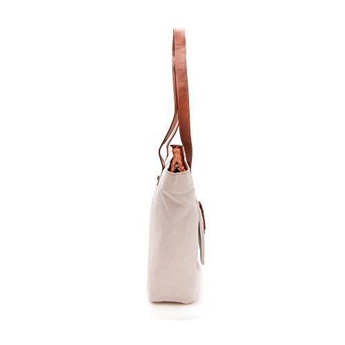 Zerimar Bolso Mujer | 100% Piel Alta Calidad | Bolso Señora | Bolso de Mano | Bolso Grande | Bolso Pequeño | Múltiples compartimentos | Múltiples compartimentos | Medidas: 130 x 33 x 11 cms Blanco tan