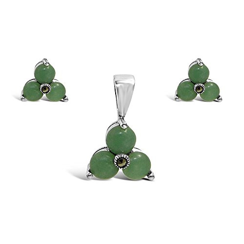 .925 Sterling Silver Genuine Green Jade (aventurine) Triangle Flower Earring and Pendant Set 16 inches Chain
