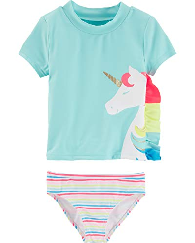 Carter's Toddler Girls' Rashguard Swim Set, Unicorn, 3T (Girls 3t Swimwear)