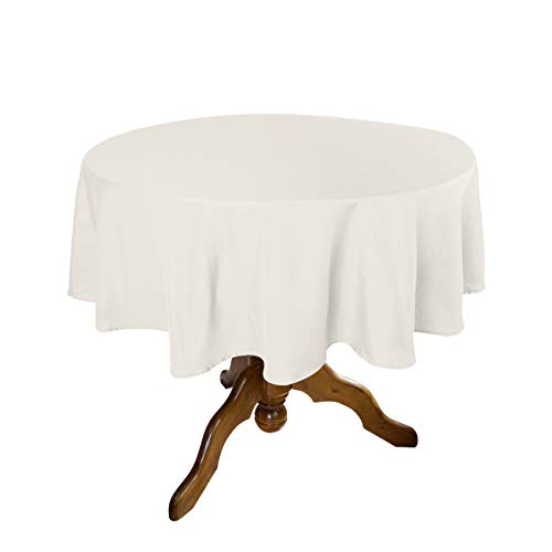Good Sun Tablecloth 70- Inch Round Polyester Waterproof Tablecloth (Cream)