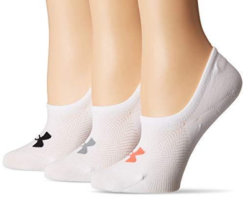 Under Armour Women's Essential Ultra Low Socks, 3-Pair, White Assorted, Shoe Size: 6-9