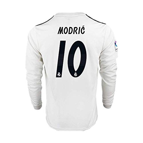 Real Madrid Long Sleeve Jersey - 18/19 Season Real Madrid #10 Luka Modric Home Mens Long Sleeve Soccer Jersey Color White Size L