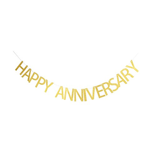 (Happy Anniversary Banner, Gold Gliter Paper Sign for Wedding Anniversary Party Decorations)