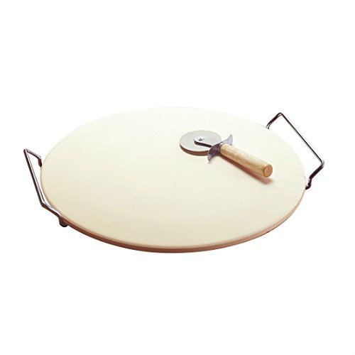 LARGE ROUND 15 PIZZA CERAMIC BAKING STONE SET STEEL RACK CUTTER KNIFE PAN KITCHEN TOOLS by Unknown