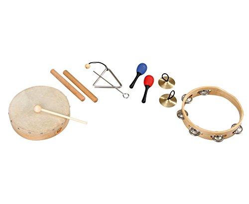 Betzold Instrumente-Rhytmik-Set, 6 tlg., Musikinstrumente, Tamburin, Cymbeln, Triangel, Maracas, Claves, Schellenringe, ideal zur musikalischen Früherziehung Kinder, Schule