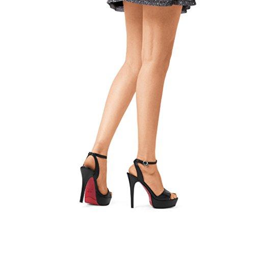 à Avec Hauts Fines Sandales Style Sandales des Chaussure Toe Noir Forme Plate de Talons Talons des Open Avec Hauts Hauts à Talons de wysm z76ZwRqvw