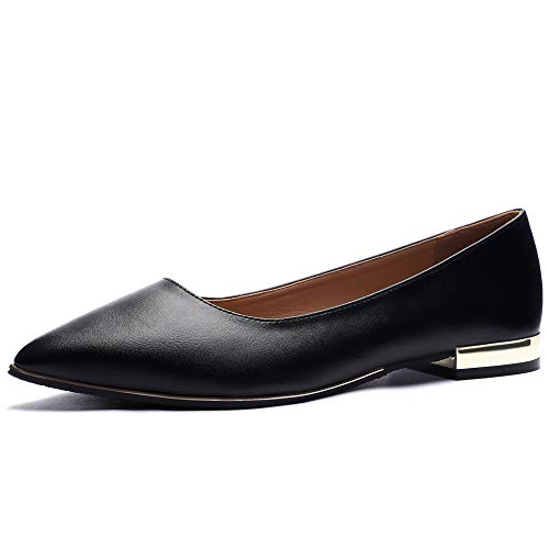 CINAK Flats Shoes Women-Ladies Fashion Comfort Light Ballet Pointed Toe Slip-on Casual Black Loafers