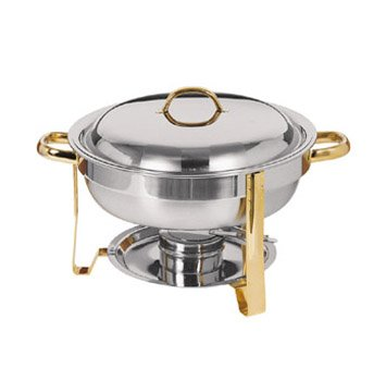 DC-4/GB Stainless Steel Gold-Accented Chafer, Round, 4-Quart (Gold Accented Chafer)