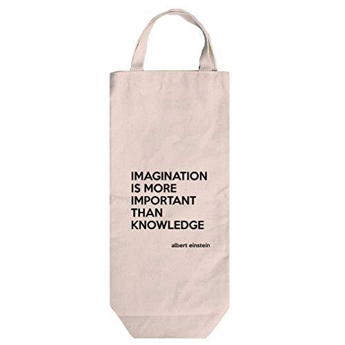 Is Than Knowledge (Albert Einstein) Cotton Canvas Wine Bag Tote With Handles (Albert Wine)