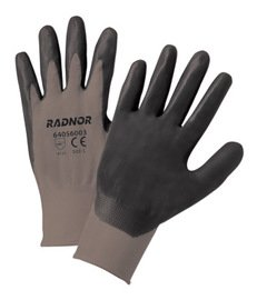 Radnor Medium 13 Gauge Black Nitrile Palm Coated Work Gloves with Gray Nylon Liner and Knit Wrist 12 Pair/Dozen (2 Dozen)