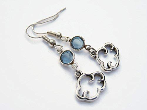 Cloud Birthstone Earrings, Personalized Cloud Earrings, Weather Earrings, Meteorologist Earrings -