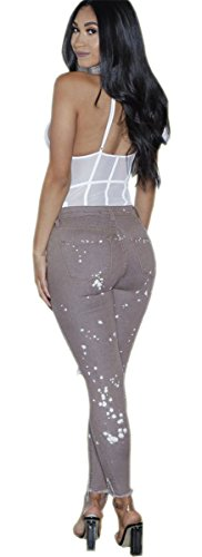 Pantalon Femmes Distressed Trous Imprim dchirs haute Skinny Gris Bodycon Denim Stretch taille pRwpW7q8