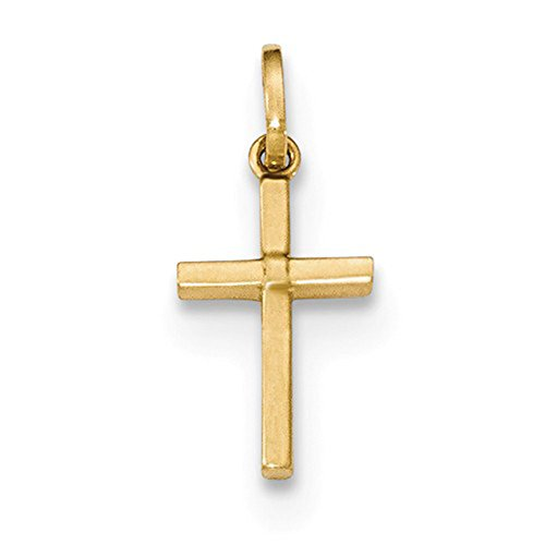 (LooptyHoops 14k Yellow Gold Small 13mm x 7.5mm Children's Cross Pendant Charm)