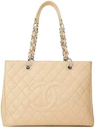 5570453e38d CHANEL Light Beige Quilted Caviar Grand Shopping Tote (GST) (Pre-Owned)