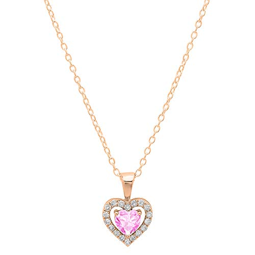 Dazzlingrock Collection 14K 5 MM Heart Created Pink Sapphire & Round Diamond Ladies Heart Pendant, Rose Gold