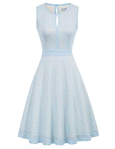 Kate Kasin Women's Keyhole Floral Lace Cocktail Party Dress Bridesmaid Dress Size L Light Blue KK1247-4