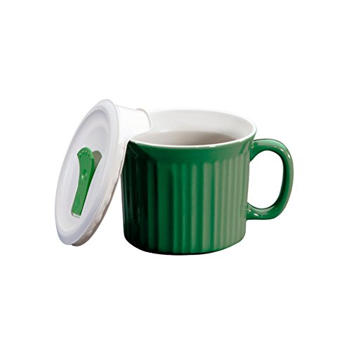 Corningware 20-Ounce Oven Safe Meal Mug with Vented Lid, Green Tea