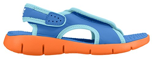 Nike Boys' Sunray Adjust 4 (Gs/Ps) Flip Flops, Grey Blue / Gold (Photo Blue / Gamma Blue - Total Orange)
