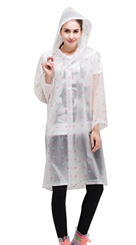AIRCEE Dots Style Lightweight Hooded Jacket Rain Poncho Long Raincoat (L, Pink - Visor Transparent Pink