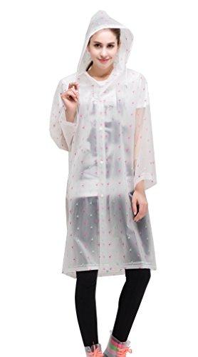 AIRCEE Dots Style Lightweight Hooded Jacket Rain Poncho Long Raincoat (L, Pink - Pink Transparent Visor