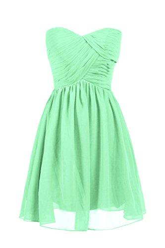 Dresstore Women's Short Chiffon Bridesmaid Dress Sweetheart Prom Party Dress Mint US 12