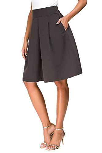 Coffee Brown High Waist Pleated Vintage Skirt for Women Aline Knee Length Elastic Waist Midi Skirt with Pockets for Women for Blazer(Brown,XL)
