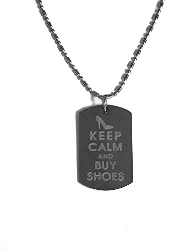 Keep Calm and Buy Shoes- Luggage Metal Chain Necklace Military Dog Tag