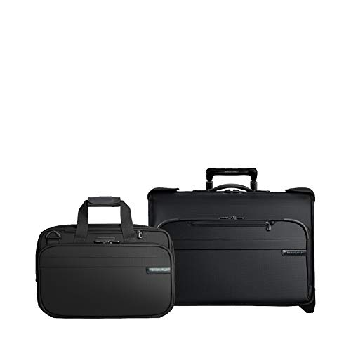 - Briggs & Riley Baseline 2-Piece Set: Carry-On Wheeled Garment Bag & Exp Cabin Bag (Black)