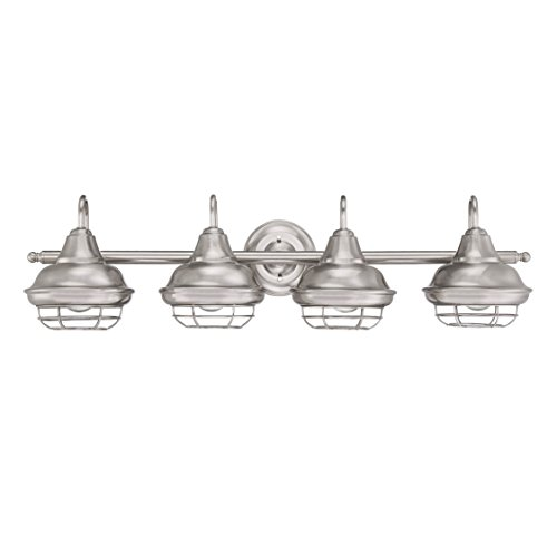 Designers Impressions Charleston Satin Nickel 4 Light Wall Sconce/Bathroom Fixture: 10015