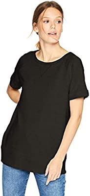 Amazon Brand - Daily Ritual Women's Terry Cotton and Modal Roll-Sleeve S