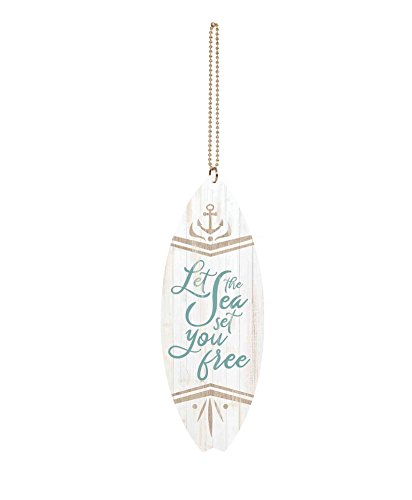 P. GRAHAM DUNN Let Sea Set You Free Anchor Whitewash Surfboard 1.5 x 4.5 Wood Hanging Car Charm ()