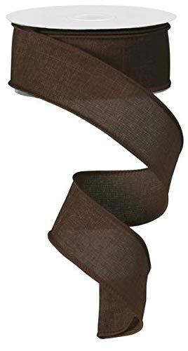 Solid Canvas Wired Edge Ribbon, 10 Yards (Brown, 1.5