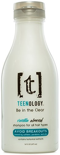 Sulfate-Free Paraben-Free Shampoo for Teens, Noncomedogenic Hair Care to Help Avoid Breakouts, Vanilla Almond Scent, Contains Vitamin B5, Natural Sage, and Aloe Vera, Cruelty-Free - TEENOLOGY (16 oz)