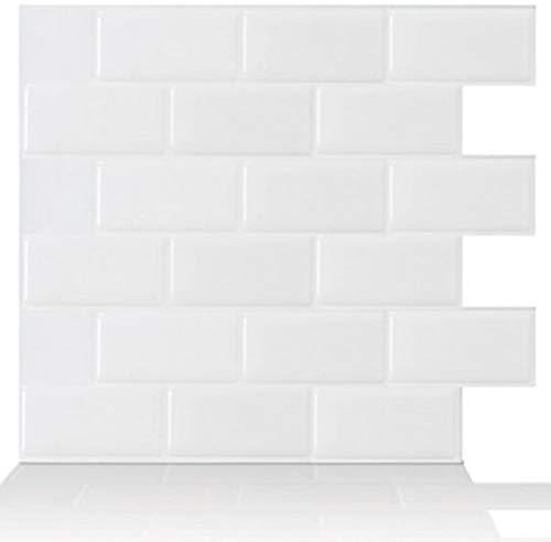 Tic Tac Tiles 10-Sheet 12 x 12 Peel and Stick Self Adhesive Removable Stick On Kitchen Backsplash Bathroom 3D Wallpaper Tiles in Subway White