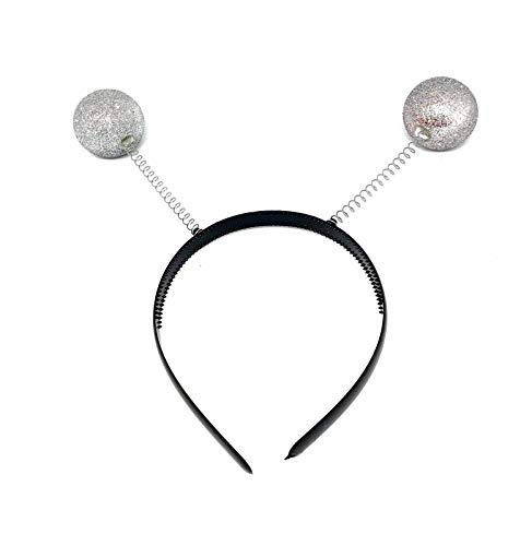 Halloween Costumes For Glasses Wearers (Albertino Silver Martian Alien Headband Boppers Party Costume Headwear)