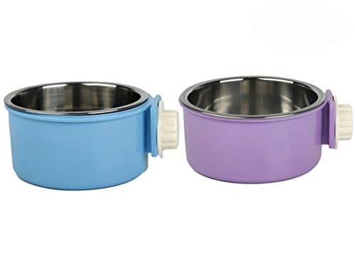 Yusenpet Cage Feeder Bowl for Small Pet, Food Water Feeder Bowl Dish with Bolt Holder for Pet Dog Cat Bird, 2 Colors Available